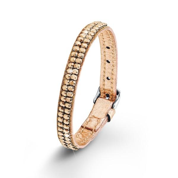 S. Oliver Damen Armband Edelstahl/Leder roséfarben mit Swarovski Kristalle SO1364/01