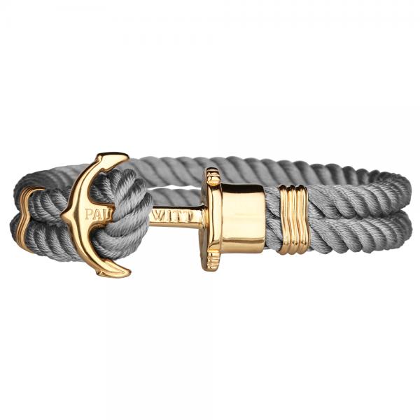 PAUL HEWITT PHREP Gold Anker Nylon Armband Grau PH-PH-N-G-Gr-S