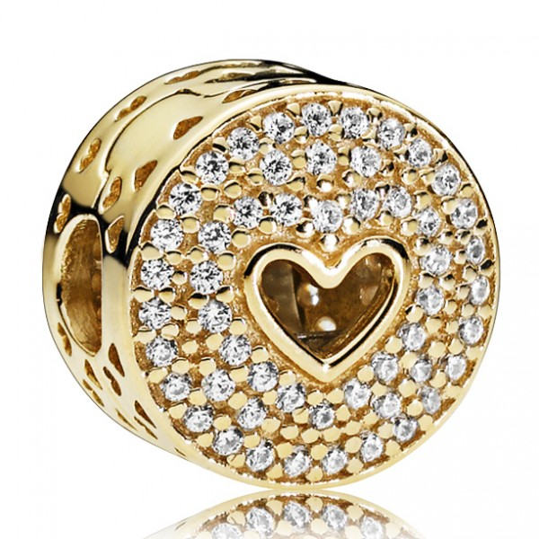 Herz Gold PANDORA Clip Heart gold clip with clear cubic zirconia 757557CZ