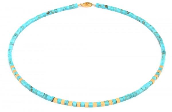 84446256 Cubis Designlinie Cubes Halskette mit blau leuchtendem Türkis und 24 Karat Goldplattierun