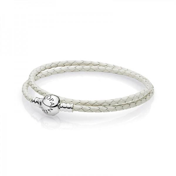 PANDORA Armband elfenbeinfarbenes Leder, zweifach gewickelt 590745CIW