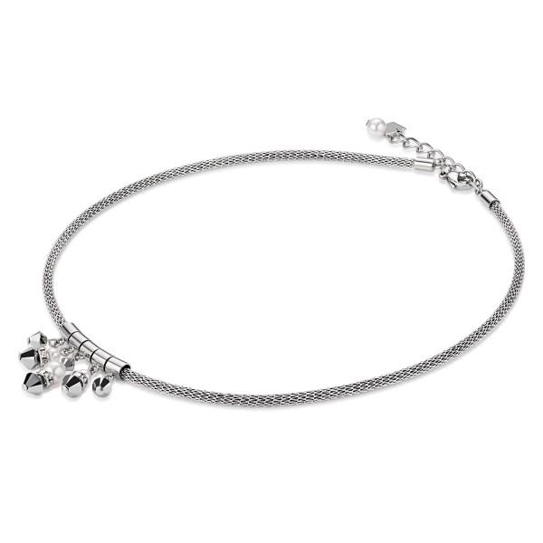 Coeur De Lion Collier Tropfen Swarovski® Kristalle & Crystal Pearl & Mesh silber 4825101700