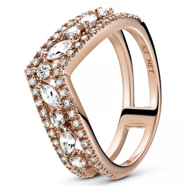 Marquise-Schliff funkelnder doppelter Wishbone PANDORA ROSE Ring 189095C01