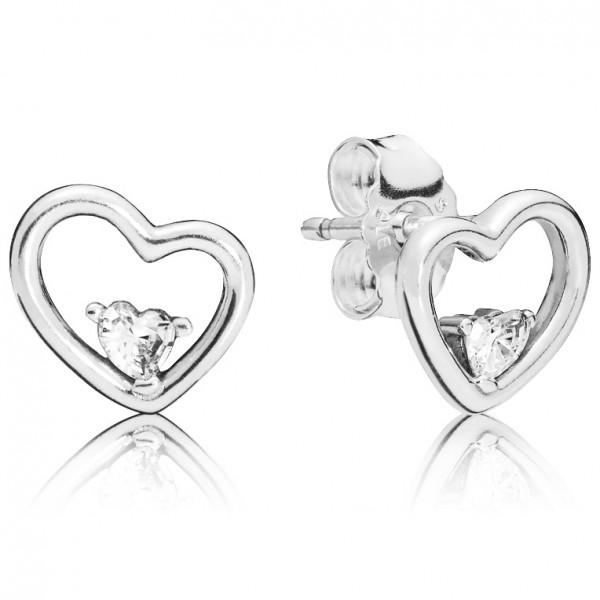 PANDORA Ohrringe Asymmetrical heart stud earrings with clear cubic zirconia 297813CZ