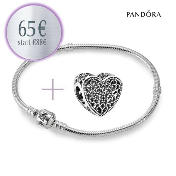 PANDORA Starterset - Armband und Ewige Liebe Herz Charm 791811 aus 925er Sterlingsilber