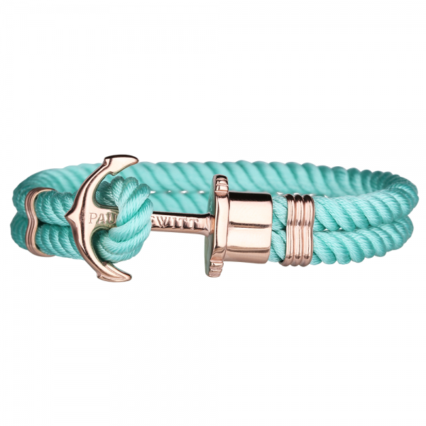 PAUL HEWITT PHREP Roségold Anker Nylon Armband Turquoise Sea PH-PH-N-R-Ts-S