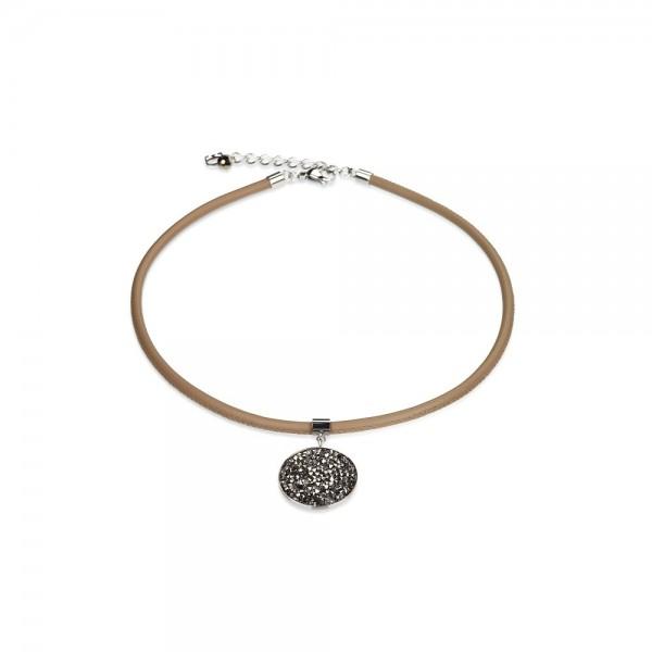 Coeur De Lion Amulett-Collier Nappa-Leder SWAROVSKI ELEMENTS beige K4497