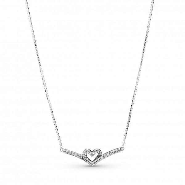 Funkelndes Wishbone Herz PANDORA Collier-Halskette 399273C01-45