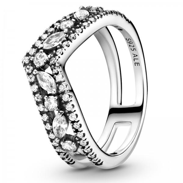 Marquise-Schliff funkelnder doppelter PANDORA Wishbone-Ring 199095C01-50