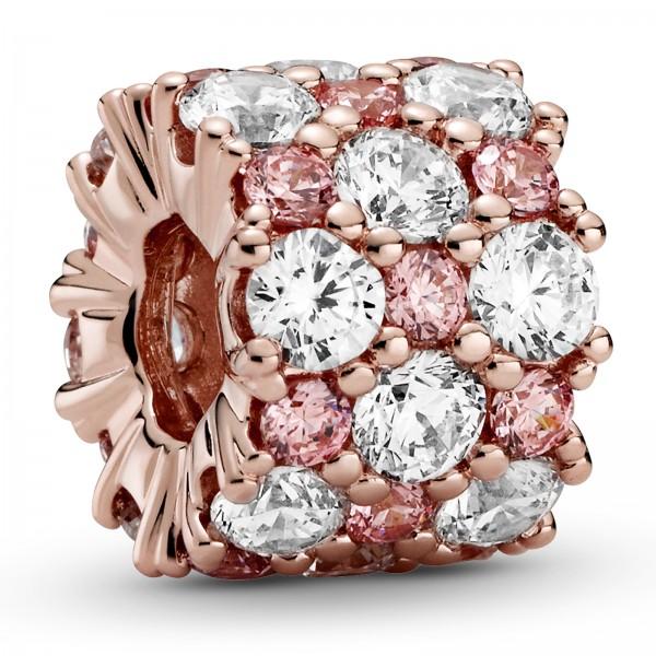 Rosafarbenes und Klares Funkelndes PANDORA Rose Charm 788487C01