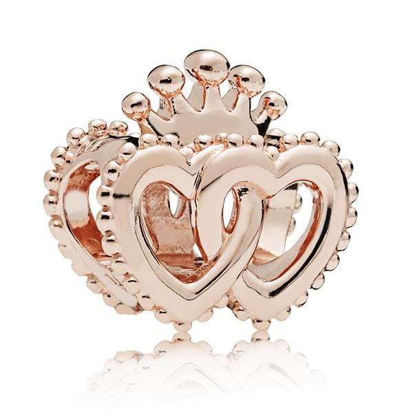 PANDORA Rose Charm Interlocked crowned hearts 787670