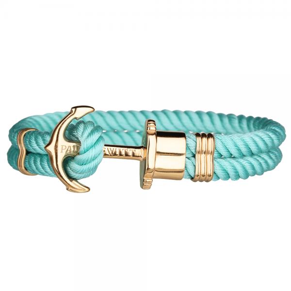 PAUL HEWITT PHREP Gold Anker Nylon Armband Turquoise Sea PH-PH-N-G-Ts-S