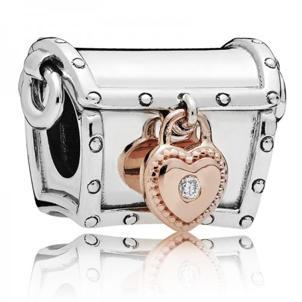 PANDORA Charm Schatzkiste Treasure box PANDORA Rose and silver charm with 0,01 ct TW h/vs diamond 787792D