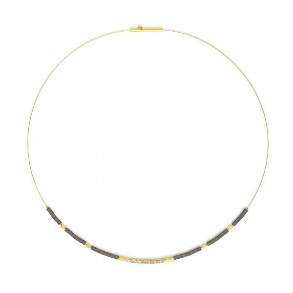 84101276 Senbo Designlinie Sentro Collier mit edlem Hämatin und 24 Karat Goldplattierung