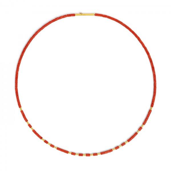 85408296 Tubelas Designlinie Cleopatra Collier mit rot leuchtender Wurzelkoralle und 24 Karat Gold