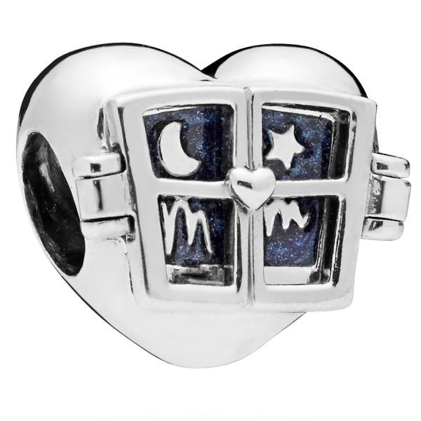 Window Heart - PANDORA Charm Blau Emaille 798006EN63