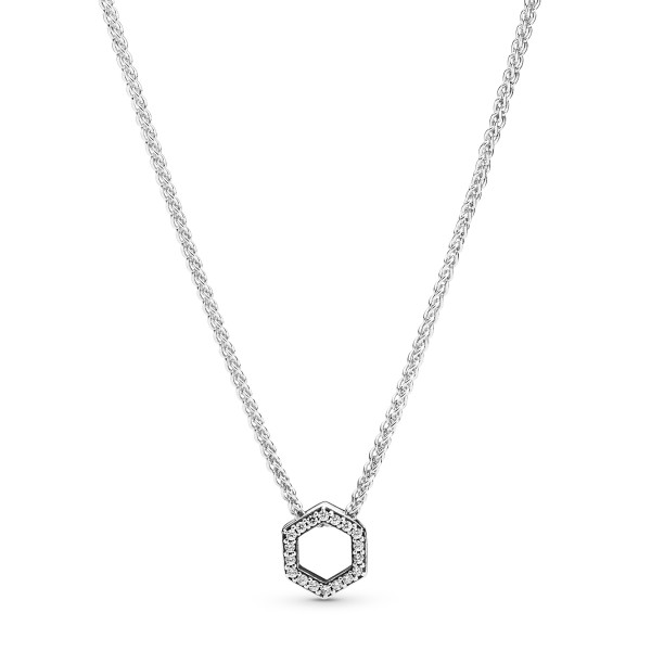 Funkelnde Sechseck PANDORA Halskette 398787C01