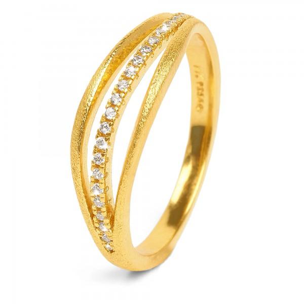 Sentro Designlinie Sentro Ring mit funkelndem Zirkonia und 24 Karat Goldplattierung 52032156