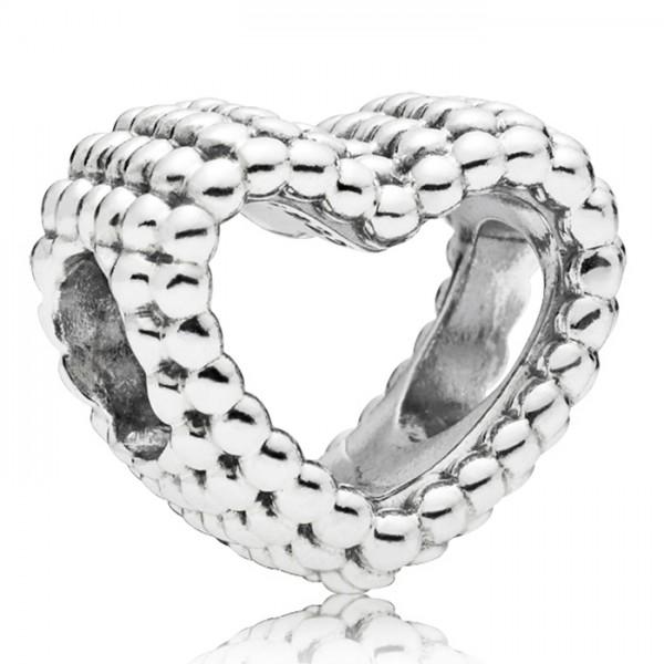 Herz PANDORA Charm silber Beaded heart 797516
