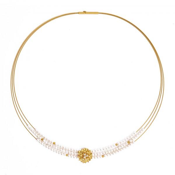 84914656 Lamira Designlinie Flowertimes Collier mit schimmernder Süsswasserperle und 24 Karat Gold