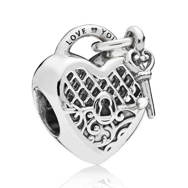 PANDORA Charm Heart padlock and key 797655