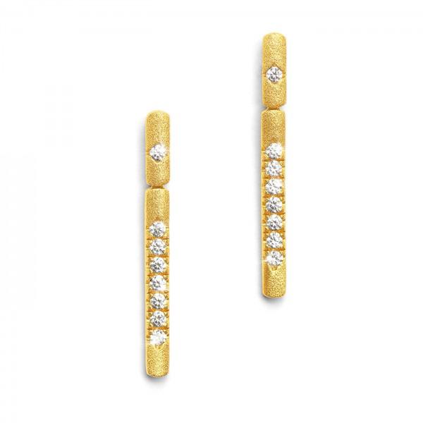 15541156 Linea Designlinie Sentro Ohrhänger mit funkelndem Zirkonia und 24 Karat Goldplattierung
