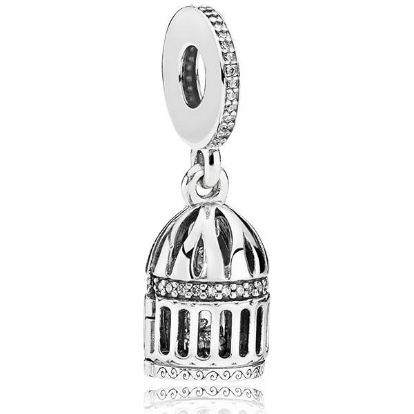 PANDORA Charm-Anhänger Birdcage openable silver dangle 797575CZ