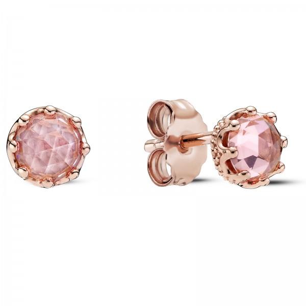 Rosafarbene funkelnde Krone PANDORA ROSE Ohrringe 288311C01