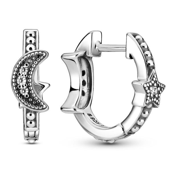 Perlenbesetzte Mondsichel & Sterne PANDORA Ohrringe 299152C01