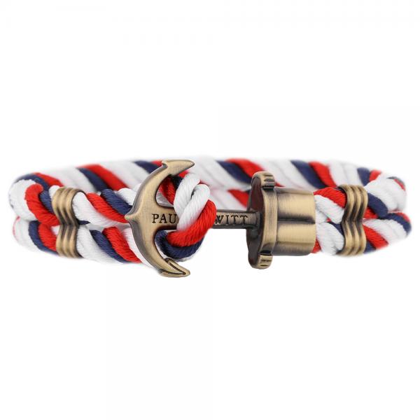PAUL HEWITT PHREP Anker Nylon Armband Marineblau-Rot-Weiss PH-PH-N-NRW-S