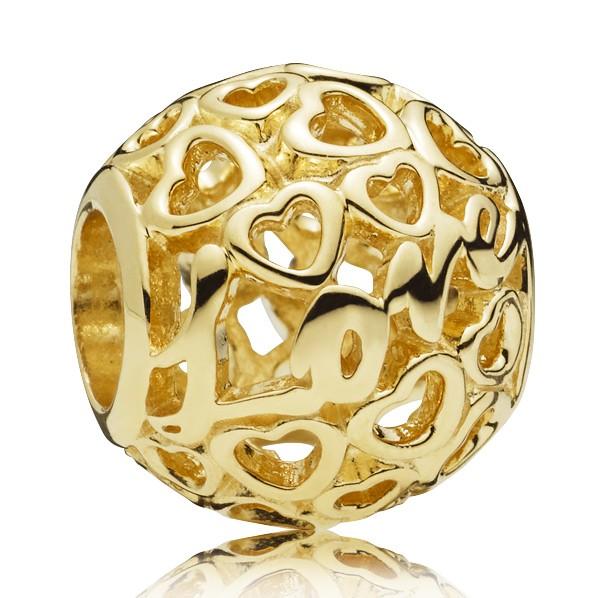 Liebe und Herzen PANDORA Charm Love and hearts gold charm 757539