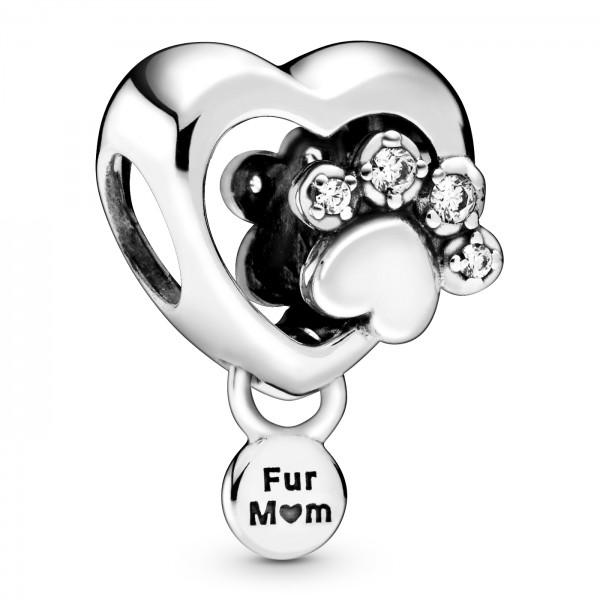 Funkelndes Hundepfotenabdruck und Herz PANDORA Charm 798873C01