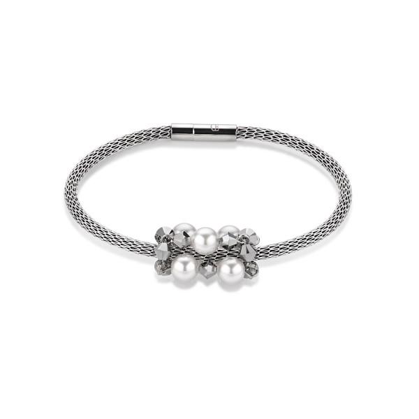 Coeur De Lion Armband Swarovski® Kristalle & Crystal Pearl & Mesh silber 4824311700