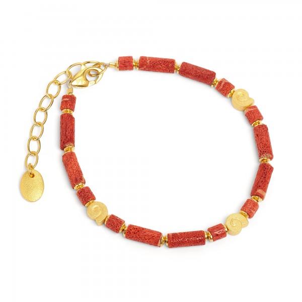 82173296 Marie Designlinie Koru Armkette mit rot leuchtender Wurzelkoralle und 24 Karat Goldplatti