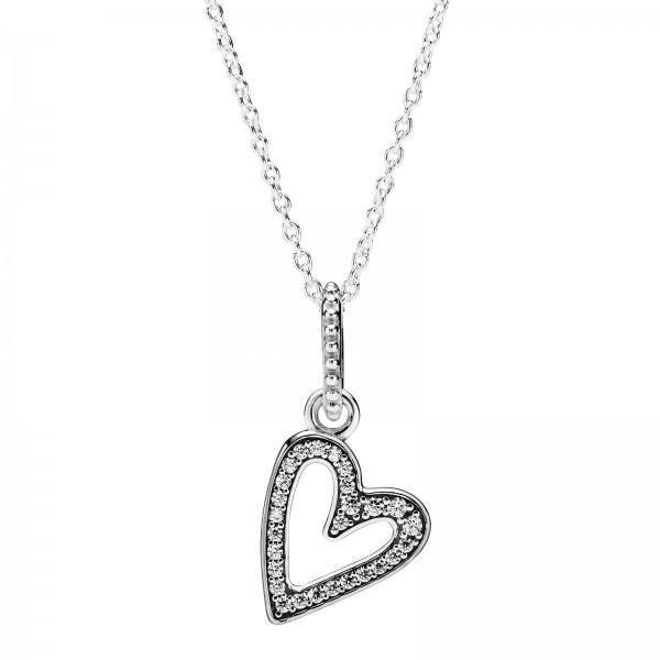 Funkelndes Freihand-Herz PANDORA Halskette mit Anhänger 398688C01