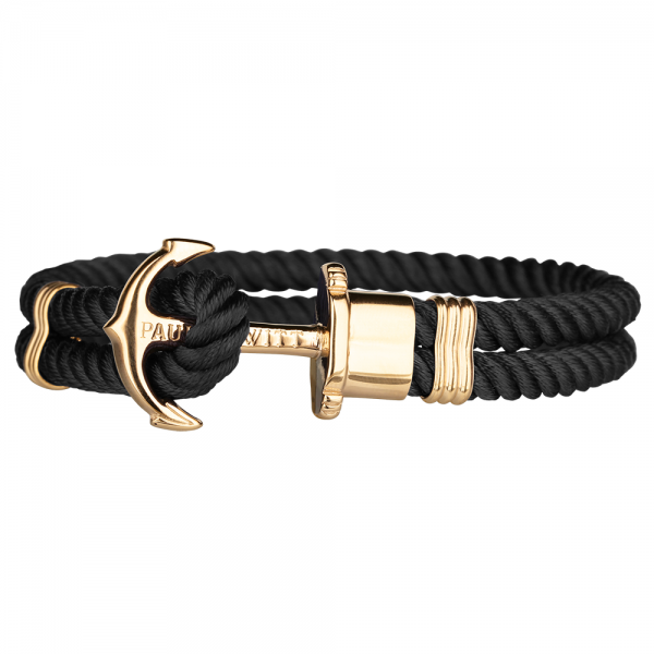 PAUL HEWITT PHREP Gold Anker Nylon Armband Schwarz PH-PH-N-G-B-S