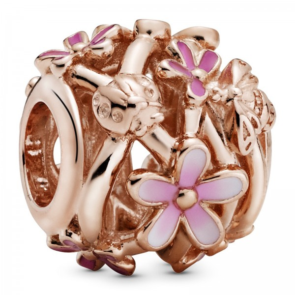 Offen gearbeitetes rosafarbenes Gänseblümchen PANDORA Charm 788772C01