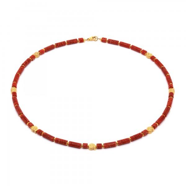 85973296 Marie Designlinie Koru Halskette mit rot leuchtender Wurzelkoralle und 24 Karat Goldplatt