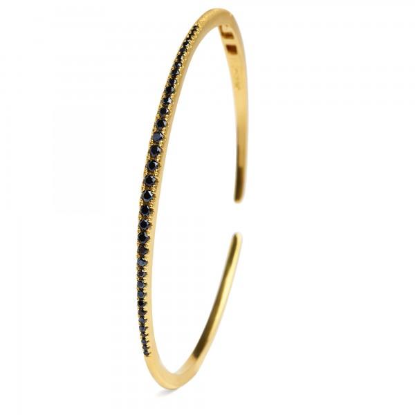 Lineo Designlinie Sentro Armreif mit elegantem schwarzen Spinell und 24 Karat Goldplattie 63125496