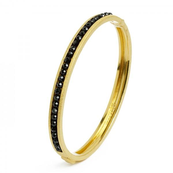 63114496 Abisenio Designlinie Basics Armreif mit elegantem schwarzen Spinell und 24 Karat Goldplat
