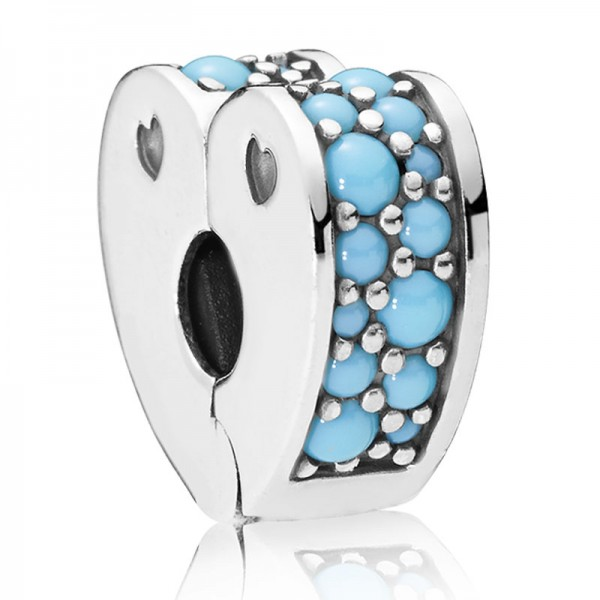 PANDORA Clip Cyan Blue Arcs of Love 797227NYA