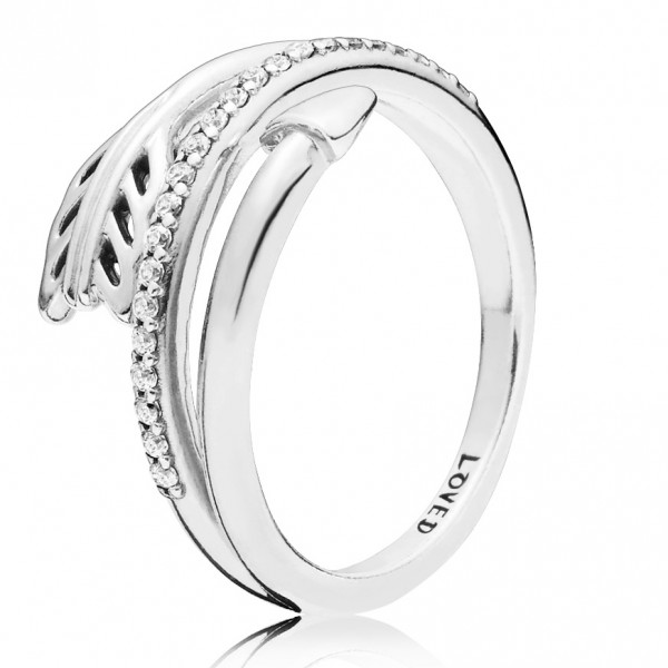 PANDORA Ring Arrow silver ring with clear cubic zirconia 197830CZ