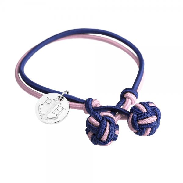 PAUL HEWITT Silber Knotenarmband Marineblau-Rosa PH-KB-NLP-S-S