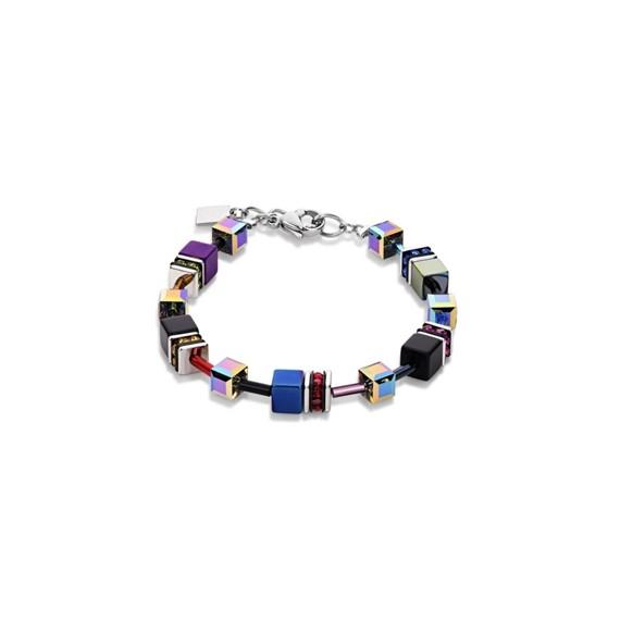 Coeur De Lion Geo Cube Armband multicolor lila-blau 4014301500