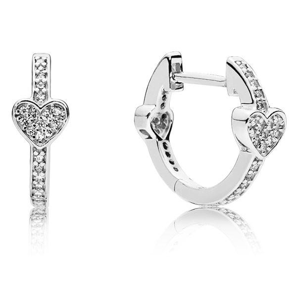 PANDORA Ohrringe Heart silver hoop 297290CZ