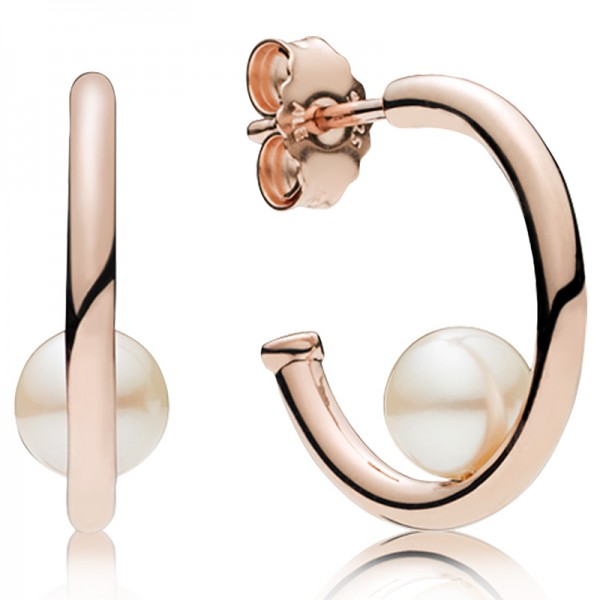 PANDORA Rose hoop earrings with white freshwater cultured pearl 287528P