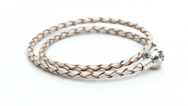 PANDORA Leder Armband, doppelt perlmutt
