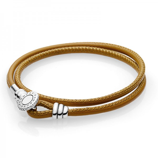 PANDORA Armband Moments Double Leather Bracelet Golden Tan 597194CGT-D1
