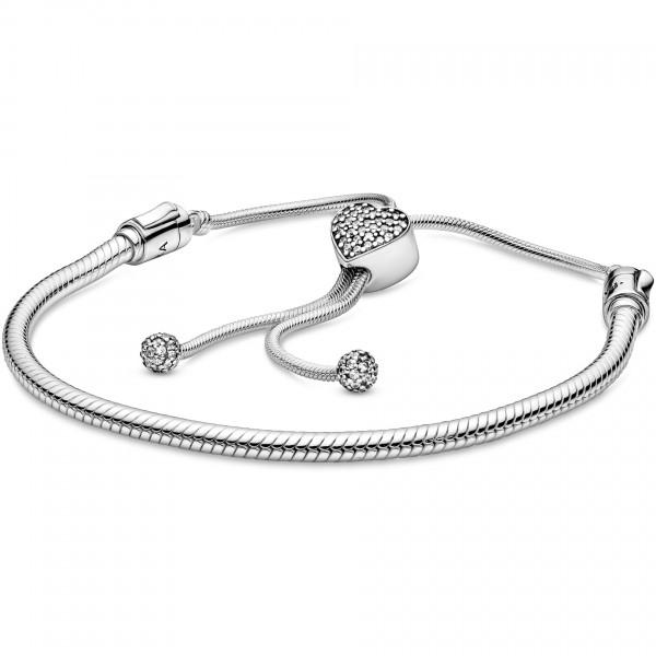 Pandora Moments verstellbares Schlangen-Gliederarmband mit Pavé-Herz-Verschluss 598699C01-2