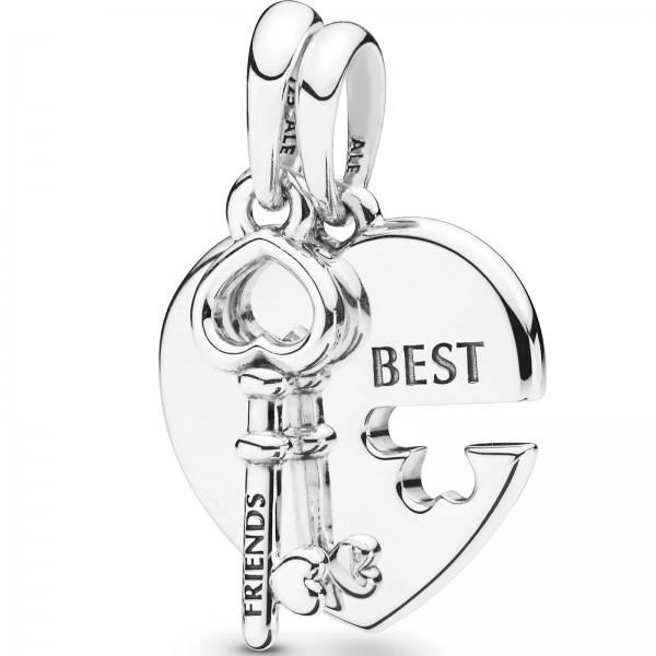 Best Friends Heart and Key Pendant PANDORA Halskettenanhänger 398130